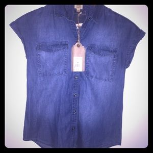 True craft blue jean button up